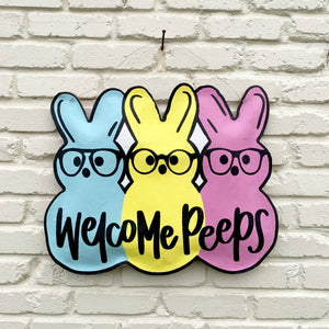 WELCOME PEEPS BURLAP DOOR HANGER