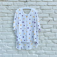 PURPLE & GOLD STAR V NECK TOP