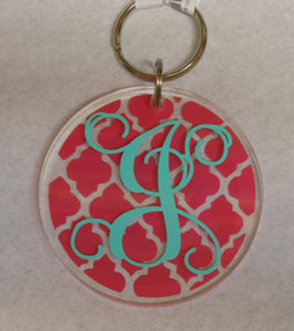 PINK INITIAL KEYCHAIN
