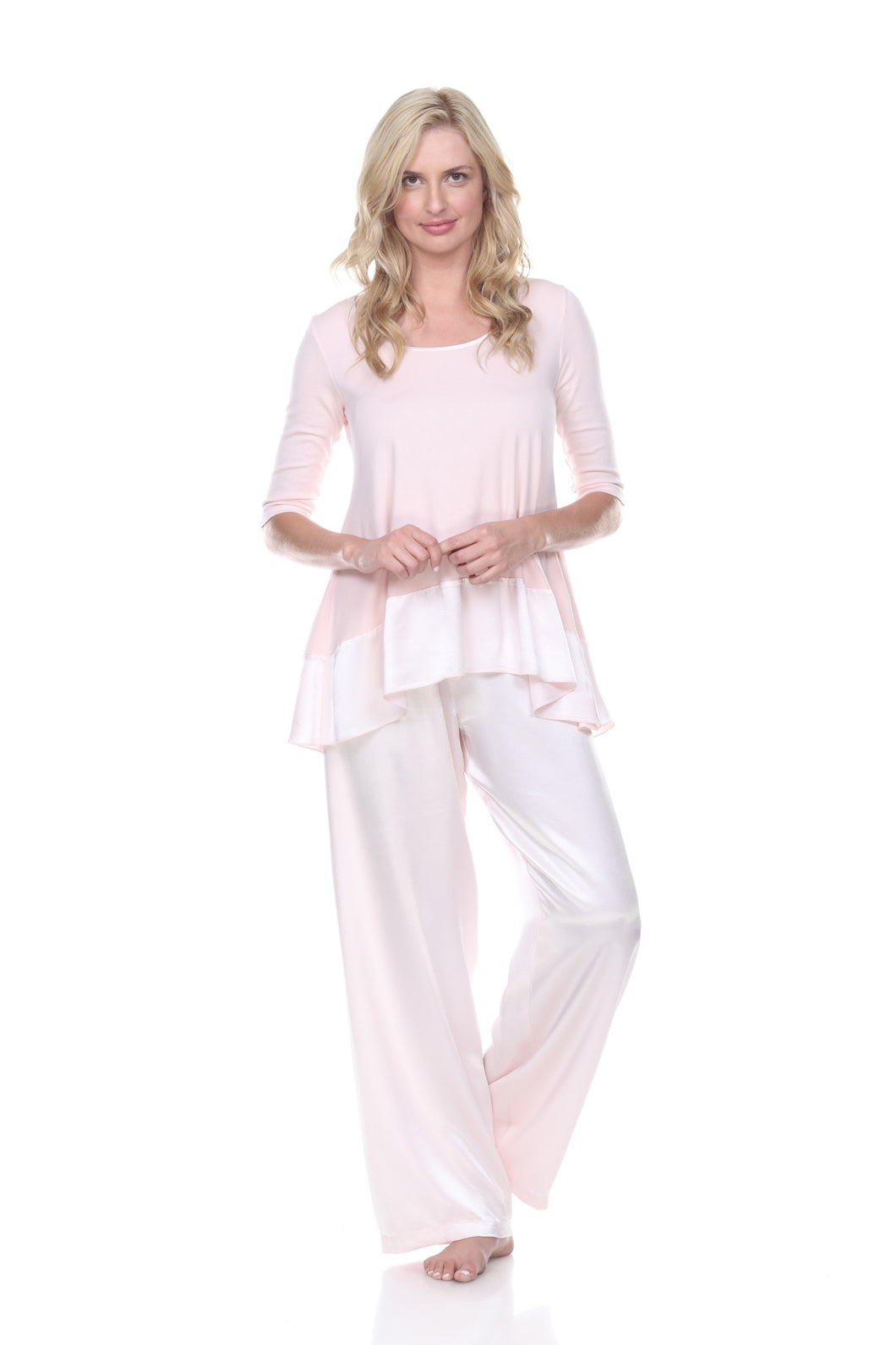 KIKI SWING TEE WITH SATIN TRIM PAJAMA TOP BLUSH
