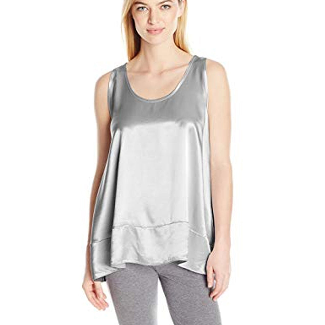 NATALIE SATIN TANK WITH RUFFLE SILVER