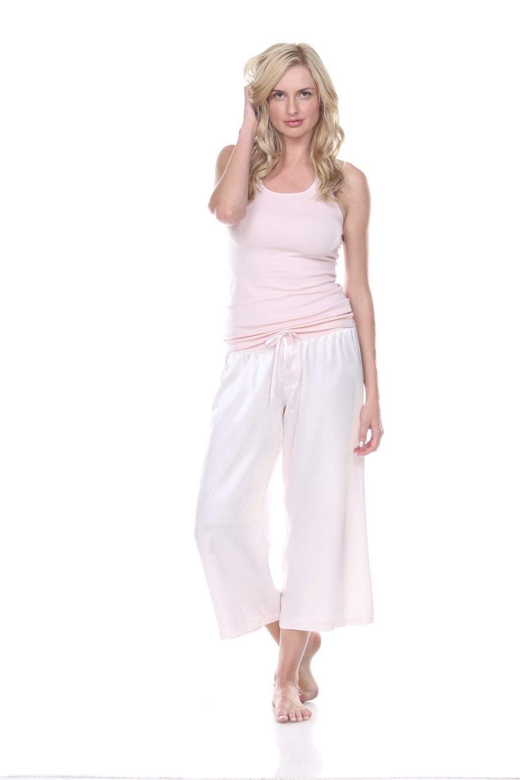 JOLIE SATIN CAPRI PAJAMA BOTTOMS BLUSH