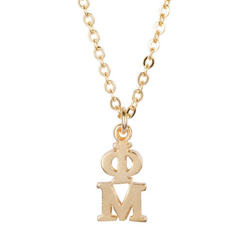 PHI MU GOLD LAVALIERE NECKLACE