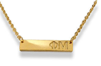 PHI MU GOLD BAR NECKLACE