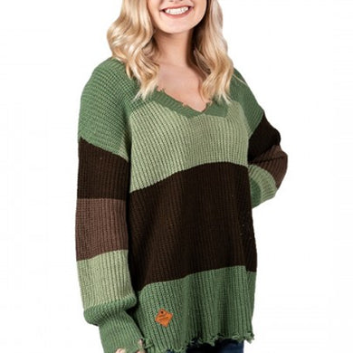DISTRESSED SWEATER GREEN