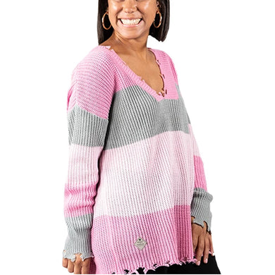 DISTRESSED SWEATER PINK