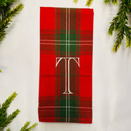 CHRISTMAS RED PLAID INITIAL HAND TOWEL