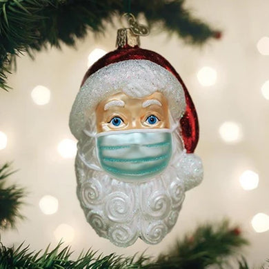 SANTA WITH FACE MASK CHRISTMAS ORNAMENT