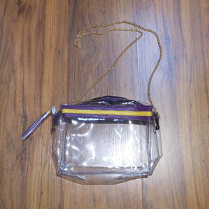 SARA PURPLE AND YELLOW STRIPE CLEAR PURSE