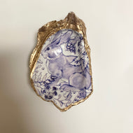 BLUE BUNNY DECOUPAGE OYSTER SHELL
