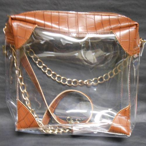SOPHIE BROWN CROC CLEAR PURSE