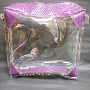 SOPHIE PURPLE PYTHON CLEAR PURSE