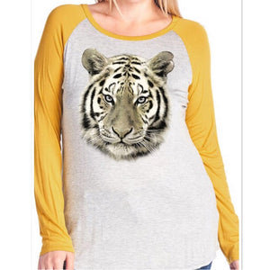 TIGER MUSTARD SLEEVE RAGLAN SHIRT PLUS