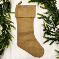 BURLAP WITH GOLD LUREX CHRISTMAS STOCKING