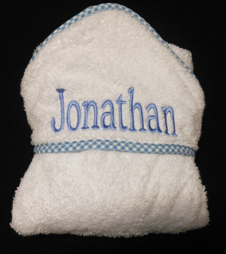 PERSONALIZED HOODED TOWEL WITH BLUE TRIM
