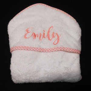 PERSONALIZED HOODED TOWEL WITH PINK TRIM