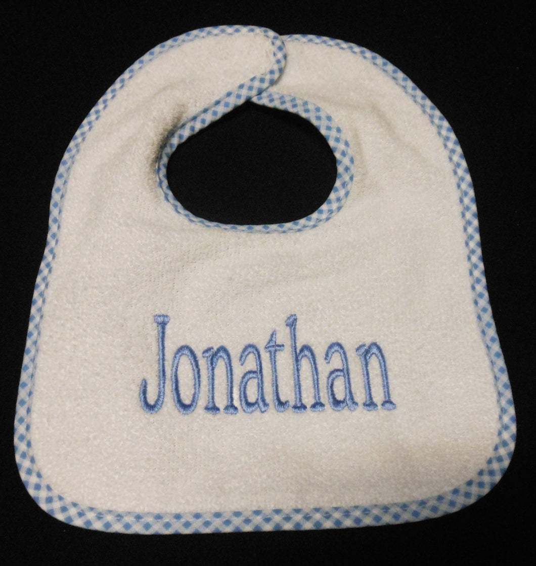 PERSONALIZED WHITE BIB WITH BLUE TRIM
