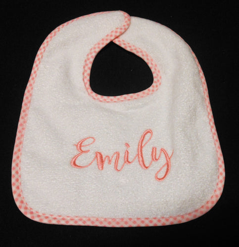 PERSONALIZED WHITE BIB WITH PINK TRIM