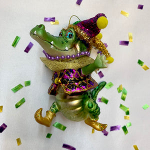 MARDI GRAS ALLIGATOR ORNAMENT JESTER