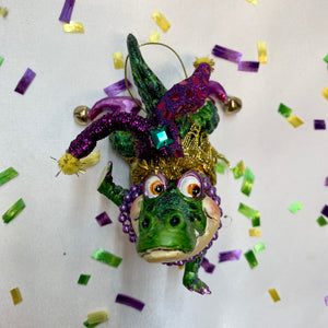 MARDI GRAS ALLIGATOR ORNAMENT HANDSTAND