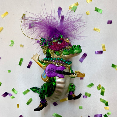 MARDI GRAS ALLIGATOR ORNAMENT ROCKSTAR