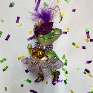 MARDI GRAS ALLIGATOR ORNAMENT LADY