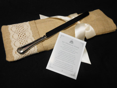 WEDDING CAKE KNIFE WITH BURLAP BAG