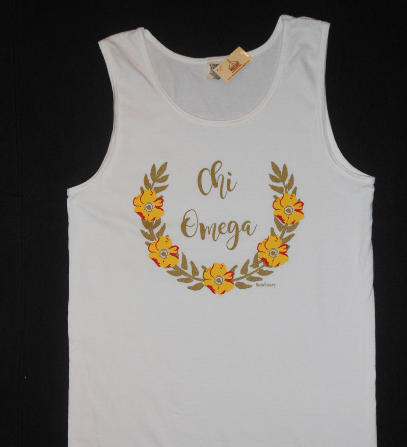 CHI OMEGA FLOWER WREATH TANK