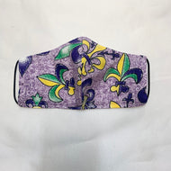 YOUTH NON MEDICAL FACE MASK STYLE 2 PURPLE MARDI GRAS FLEUR DE LIS 3-6 YEARS