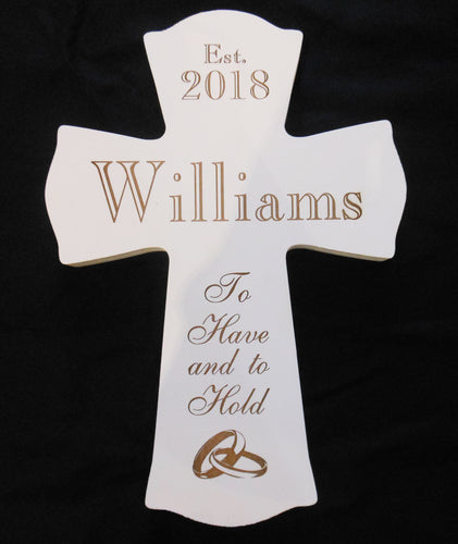PERSONALIZED WHITE WEDDING CROSS