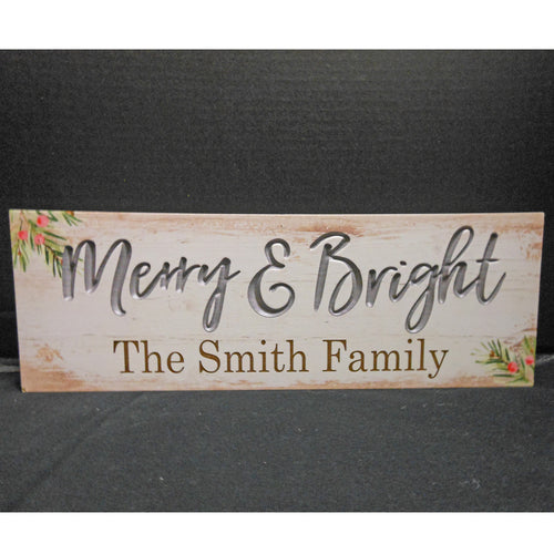PERSONALIZED MERRY & BRIGHT BLOCK SIGN