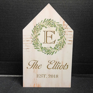 PERSONALIZED WREATH HOUSE BLOCK
