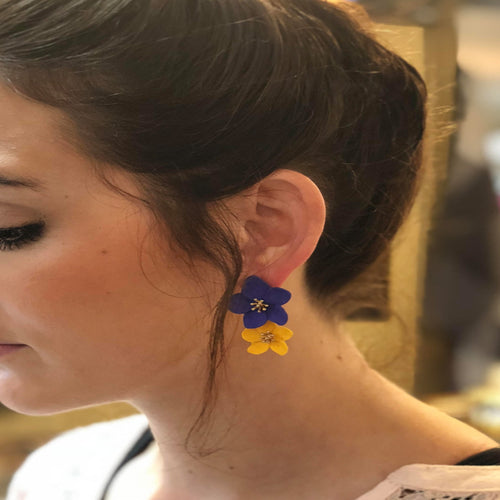PURPLE AND GOLD FLOWER EARRINGS