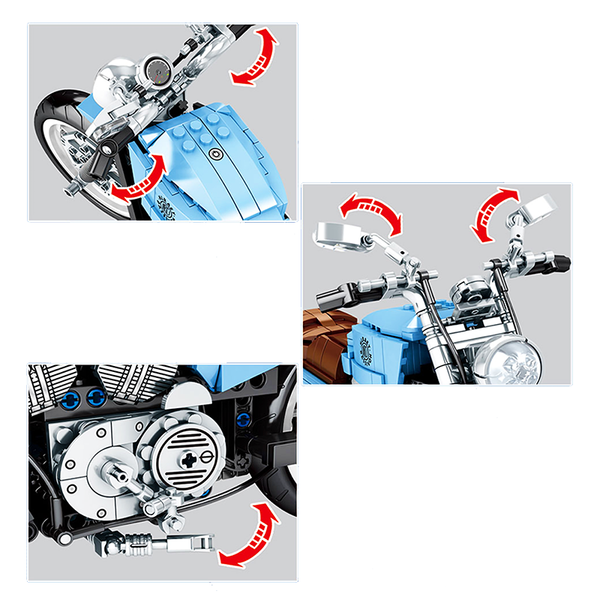 Blue Harley Motorcycle |  3d puzzle | nano blocks | brickcenter.myshopify.com