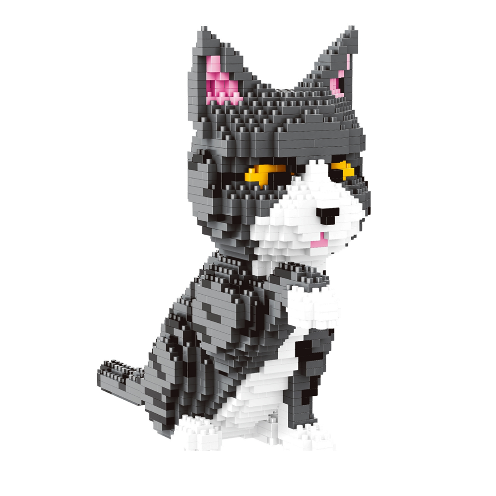 Grey Fluffy Kitten |  3d puzzle | nano blocks | brickcenter.myshopify.com
