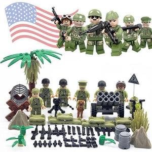US WW2 soldiers 6-pack with weapons and cannons |  3d puzzle | nano blocks | brickcenter.myshopify.com