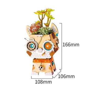 Puppy Flower Pot 3D Wooden |  3d puzzle | nano blocks
