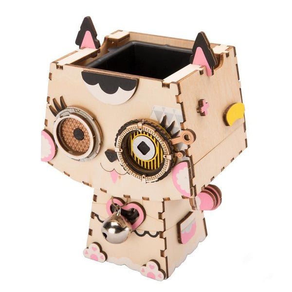 Kitty Flower Pot 3D Wooden |  3d puzzle | nano blocks | brickcenter.myshopify.com