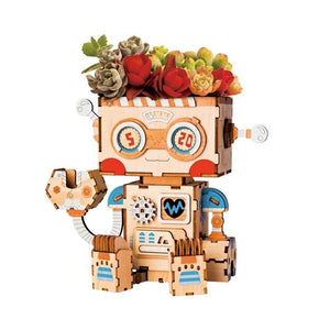 Robot Flower Pot 3D Wooden