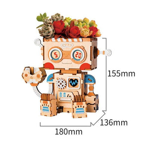 Robot Flower Pot 3D Wooden |  3d puzzle | nano blocks | brickcenter.myshopify.com