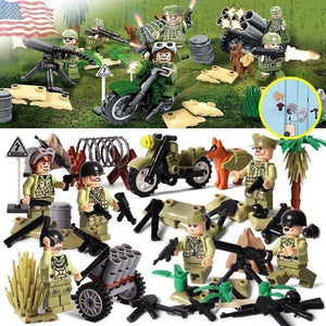US WW2 soldiers 6-pack with weapons and cannons |  3d puzzle | nano blocks