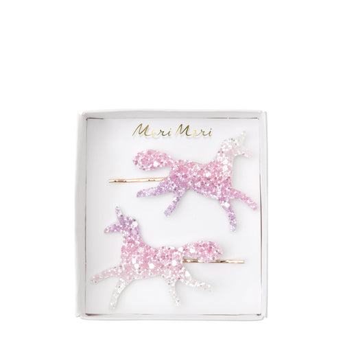 Hair Clips Unicorn Glitter