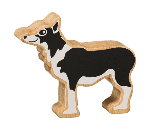 Natural Wooden Animal - Black and White Dog