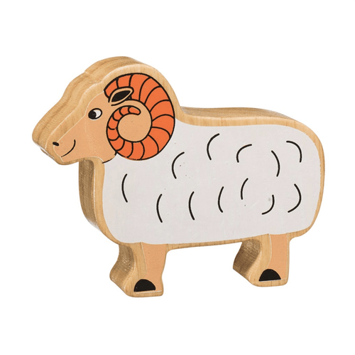 Natural Wooden Animal - White Ram - Little Fenix Australia