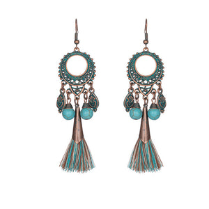 Tassel Fringe Leaf Stones Earrings