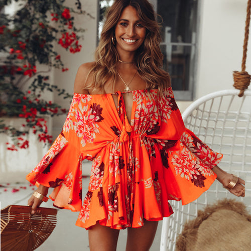 Rompers Womens Jumpsuit Shorts Bohemian Style Overalls For Women Off Shoulder Loose Flare Sleeve Female Summer Boho Playsuits