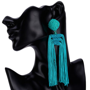 Beads Long Statement Earrings