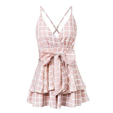 Load image into Gallery viewer, Playsuit Plaid Boho Jumpsuit