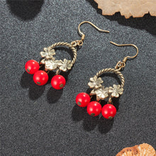 Load image into Gallery viewer, Lucky Flower Red Beads Earrings
