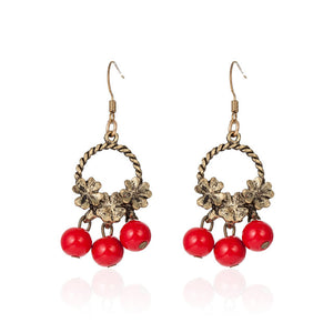 Lucky Flower Red Beads Earrings